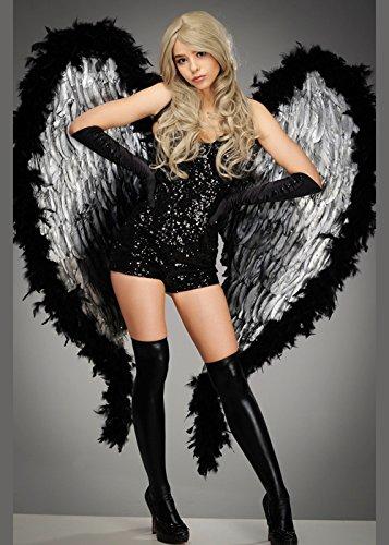 Fancy Kostüm Fallen Angels Dress - Deluxe extra große schwarze und silberne Feder Engelsflügel