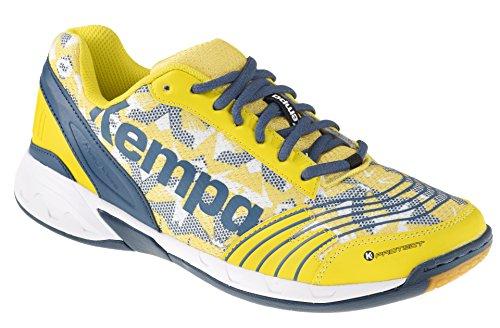 Kempa Attack Three, Chaussures de Handball Mixte Adulte Multicolore (Blaz Jaune/Pétrole/Blanc)
