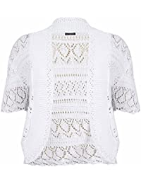 Femmes Grande Taille Manches Courtes Femmes Crochet Tricot Boléro Cardigan Ouvert