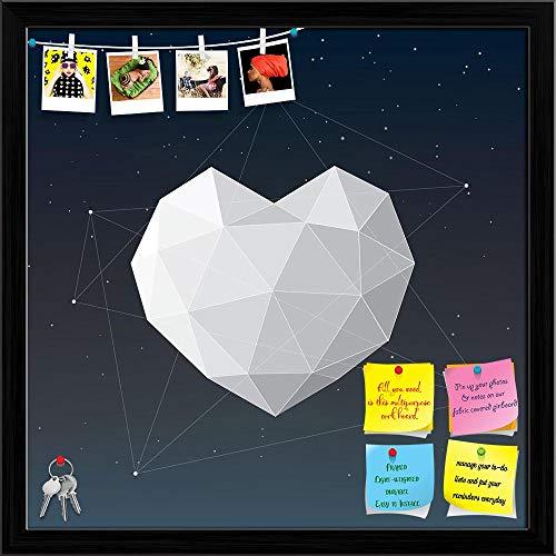 Artzfolio White Geometrical Heart Printed Bulletin Board Notice Pin Board | Black Frame 20 X 20Inch