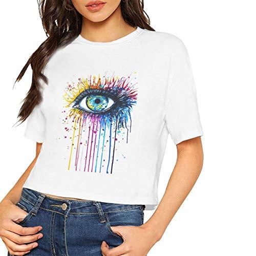 Einzigartiges Damen-Kurzarm-T-Shirt mit Regenbogenauge-Print, Bauchfreies Bauchfreies Oberteil, weich -