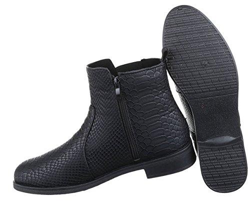 Damen Boots Schuhe Chelsea Boots Stiefeletten Schwarz Beige Blau 36 37 38 39 40 41 Schwarz