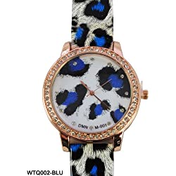 Acess White, Black and Orange Animal Print Diamante Bezel Encrusted Watch