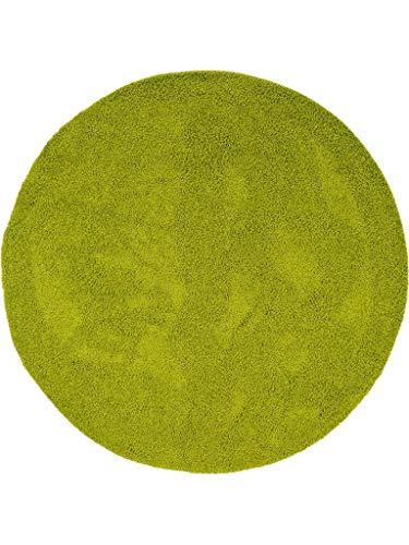 Benuta Hochflorteppich Swirls Shaggy Langflor Grün ø 120 cm rund Kunstfaser