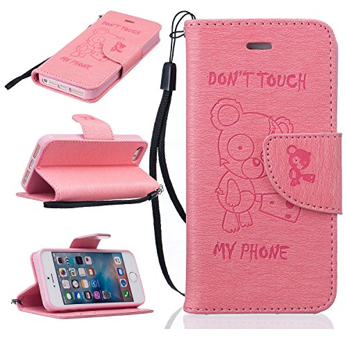 Coque iPhone 5S, Coque iPhone 5,Coque iPhone SE, LuckyW PU Housse en Cuir pour Apple iPhone 5 5S SE Don't Touch My Phone Ours Motif Clapet Flip Folio Wallet Portefeuille Case Elegant Durable Protecteu Rose
