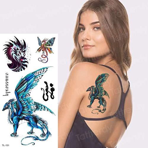 tzxdbh temporäre Tätowierung Aufkleber Dragon Wing sexy Tattoo für Frau temporäre Tätowierungen Libelle Arm Ärmel gefälschte Tätowierung Stammes-Designs