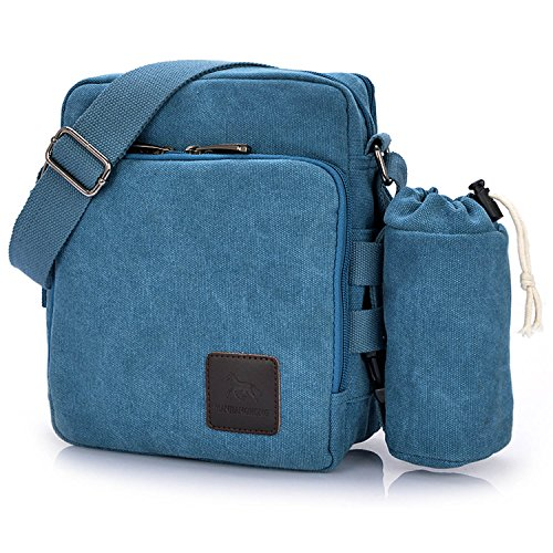 Outreo Borsa Tracolla Uomo Borse da Spalla di Tela Canvas Messenger Bag Vintage Sacchetto di Tablet Piccolo Borsello per Studenti Scuola Università Tasche Viaggio Outdoor Sport Tasca (Verde) Blu One