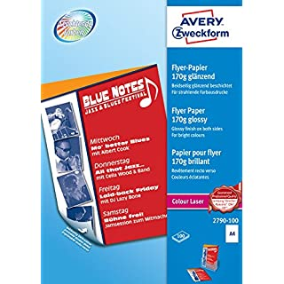 Avery Dennison Zweckform 2790-100 Colour Laser Flyer Paper A4 Glossy 170 g/m² 100 Sheets White