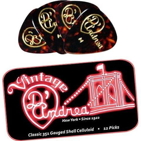 D'Andrea TNVSX Guitar Picks, 12 piezas, de Colección de la lata, carcasa, Extra Pesado