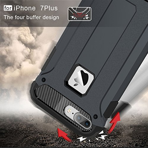 Hülle für iPhone 7 plus , Schutzhülle Für iPhone 7 Plus Tough Armor TPU + PC Kombi-Gehäuse ,hülle für iPhone 7 plus , case for iphone 7 plus ( Color : Dark Blue ) Dark Blue