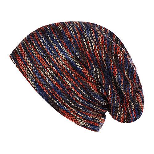 SO-buts Unisex Gestreifte Plus Samtmütze, gekräuselte warme Wollmütze, Outdoor-Casual Mütze Hut (rot)