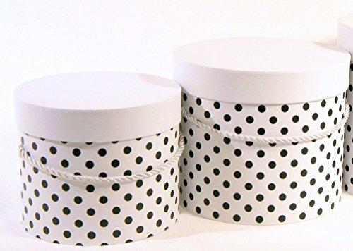 VIPOLIMEX 2er Set Blumenbox mit Punkten, Geschenkschachtel mit Kordel, Dekobox mit einfarbigem Deckel, Hutschachtel, Aufbewahrungsbox (Weis 2er Set) Runde Aufbewahrungsboxen