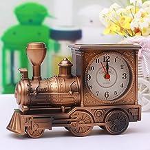 Desk decoration Creativa de moda alarma pequeños estudiantes individuales Lazy Bones de niños la mesa de cama dormitorio retro reloj continental , Tren de oro