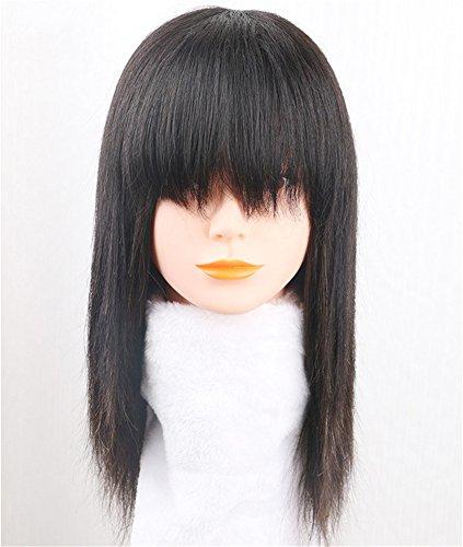 Remeehi - Peluca de pelo humano 100% natrual con pinza de flecos y cintas para...