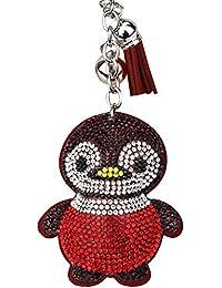 Skyeye Dessin animé Pingouin Diamant Boule en Acier Simili Cuir Tassel  Voiture Porte-clé Sac à Dos Sac à Main à… 51b40e968fc