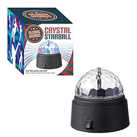 Global Gizmos Battery Operated Crystal Starball Disco Light, Plastic, Black