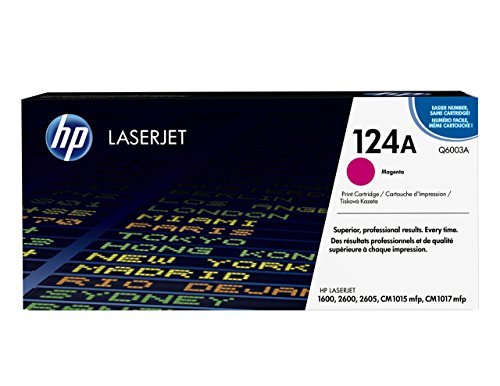 HP 124A (Q6003A) Rot Original Toner für HP Color Laserjet 2600, 2605, 1600, CM1016, CM1017 (Laserjet Color 2600n-toner Hp)