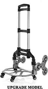 Lightweight Aluminium Collapsible Dolly Truck with Wheels Navaris Folding Hand Trolley Stair Climbing Cart Carrier for Goods with Bungee Cord