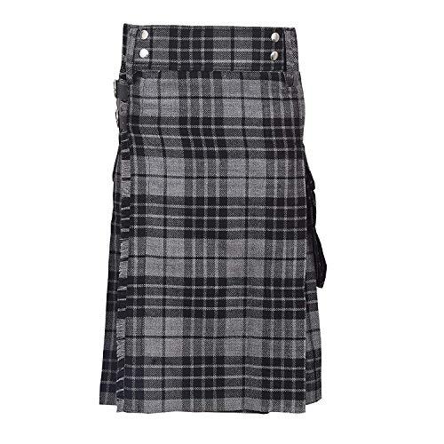 SHYNE KILTS U.K Hochland Grau Herren Mode Sport Schottenkaro Utility Kilt Deluxe Kilt Verstellbar Größen Tasche Kilt - grau, 46