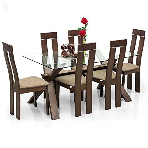 Royal Oak Olive Six Seater Dining Table Set (Walnut)