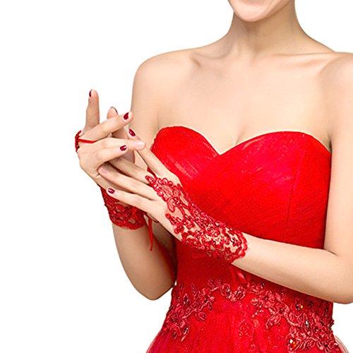 1 Paar Spitzen Hochzeit Handschuhe - Verband Lace Flower Style kurze Fingerlose für Frauen Damen Braut Brautjungfer Hochzeit Party, (Rot Spitzen Kurze Handschuhe)