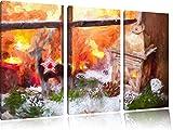weihnachtlich dekoriertes Fensterbrett Kunst Pinsel Effekt 3-Teiler Leinwandbild 120x80 Bild auf Leinwand, XXL riesige Bilder fertig gerahmt mit Keilrahmen, Kunstdruck auf Wandbild mit Rahmen, gänstiger als Gemälde oder Ölbild, kein Poster oder Plakat