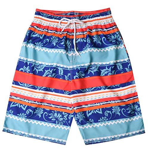 DaySing Shorts Maillot De Bain avec Cordon Short De Bain Homme à SéChage Rapide Surf à La Plage en Cours D'ExéCution Natation Watershort High-Tech Slip Shorts Raye Print*