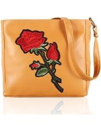 Voaka Women's Stylish Design Multi Flower Sling Bag For Girls/Women (Tan)
