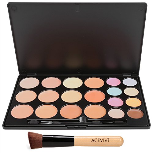 ACEVIVI 20 Farben Concealer Cream Tarnung Contour Palette mit Puderpinsel
