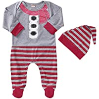 uBabamama Autumn Sale!!! Christmas Snowman Printed Stripe Long Sleeve Jumpsuit Romper +Hat for Newborn Infant Baby 3-12 Months (Gray,70)