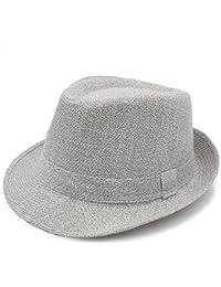 Haoweiwei Sombrero Fedora de Moda para Mujer Hombre con Bowler Gentleman  Elegante Señora Winter Autumn Amplio 65adadddd98