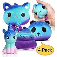 Amteker 4 Pack Galaxy Kawaii Squishy , Grandes Animales Squishy Juguete Gigante Jumbo Squishy Slow Rising Perfumado Squishes, Muñecos Antiestres Juguete (Buñuelo Unicornio+ Gato+ Panda + Poo)