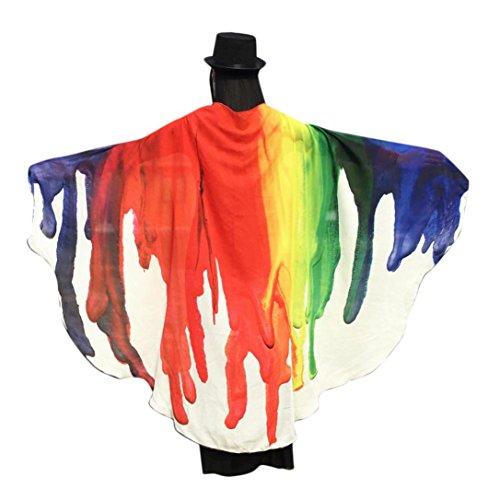 Gewebe Schmetterling Flügel Schal Fee Ladies Nymphe Pixie Halloween Cosplay Weihnachten Ostern Karneval Kleidung Weiche Gewebe Cosplay Kostüm Accessoire (197*125CM, Weiß-2) (Neue Halloween-kostüme Für Kinder)