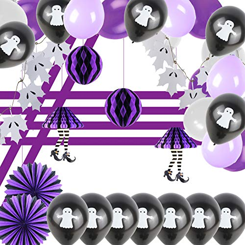 Easy Joy Kinder Halloween Dekoration Set Violett Geist Luftballons Kindergeburstag