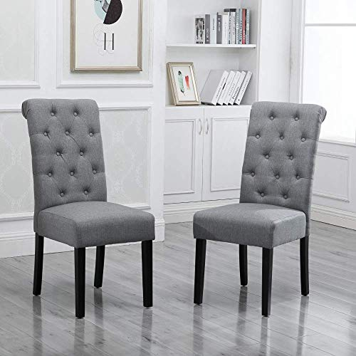 BOJU Modern Dining Chairs Only Fabric Upholstered Armless Chairs Set of 2/4/6 for Kitchen Restaurant Lobby Lounge Furniture Wood Chairs