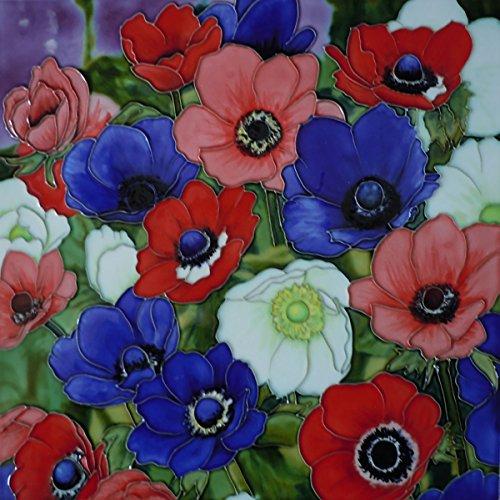 Leaf Wall Plaque (anenomes von K Andy Deko Keramik Bild Fliese 12x 12Home Decor Küche Wandschild Geschenk Floral)