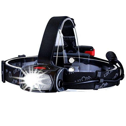 Litom LED Stirnlampe LED Kopflampe wasserdicht Stirnlampe USB Wiederaufladbare;mit Geste Sensor Funktion und 6 Modi zu wählen