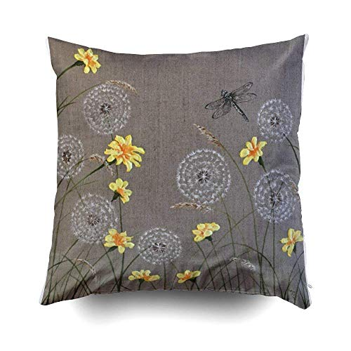 nfly and Yellow Floral Cushion Cushions CaseFor Sofa Home Decorative Pillowslip Gift Ideas Household Pillowcase Zippered Pillow Covers 18X18Inches/45cm x 45cm ()