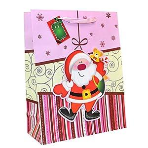 Shatchi - Bolsa de regalo para Papá Noel (6 unidades, tamaño mediano, 6 unidades), diseño de Papá Noel y osito