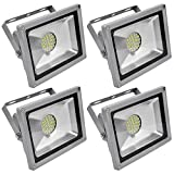 Leetop 4X 30W LED Fluter Strahler Flutlicht Kaltweiss Scheinwerfer IP65 Außen SMD Baustrahler Beleuchtung Lamp