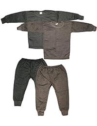 KIFAYATI BAZAR Kids Unisex Body Warmer Thermal Winter Wear (Top + Bottom) Multi-Color(Set of 2)