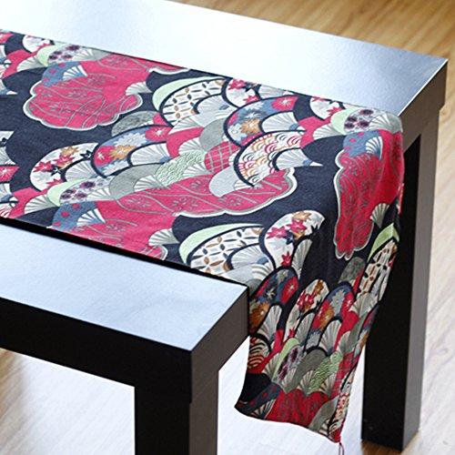 Yazi étnicos estilo camino de mesa diseño de ventilador rojo lino y...