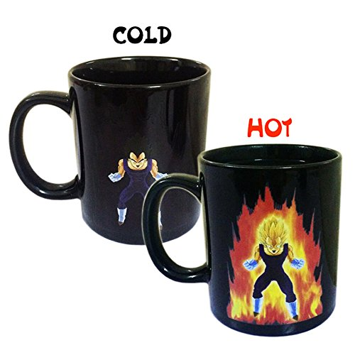 Kyonne dragon ball calore cambiamento mug, grande tazza regalo per i fan di dragon ball (vegeta)