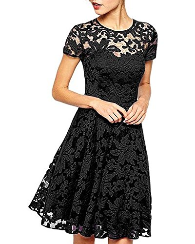 KOKOPA Kleider Damen, Abendkleid Sommerkleid elegant Knielang Partykleid Mini Kleid hochzeit festliche kleider (Schwarz, XL) (Besonderen Anlass Kleid Muster)