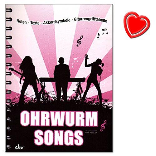 Ohrwurm-Songs von Sven Kessler - Songbook mit Noten, Texten, Akkordsymbolen und Gitarrengrifftabelle - mit bunter herzförmiger Notenklammer (Happy Birthday Meine D)
