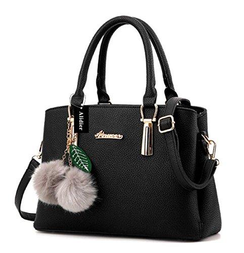 Alidier Neue Marke und Qualität 2016 Neue Damen Shopper Ledertaschen Handtaschen Umhängetasche Schultertasche Tote Bag Schwarz (Große Shopper)