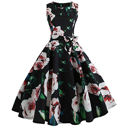 OverDose Damen Karneval im freiena Stil Frauen Vintage Druck Bodycon Sleeveless beiläufige Abend Party Prom bar Dating Street schlank schaukel Dress Dirndl