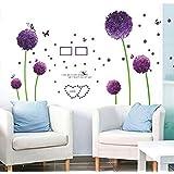 """Wall Sticker, DDLBiz® Adesivi Murales, Carta da Pareti """"tarassaco viola"""" Decorazione Murali da Parete"""