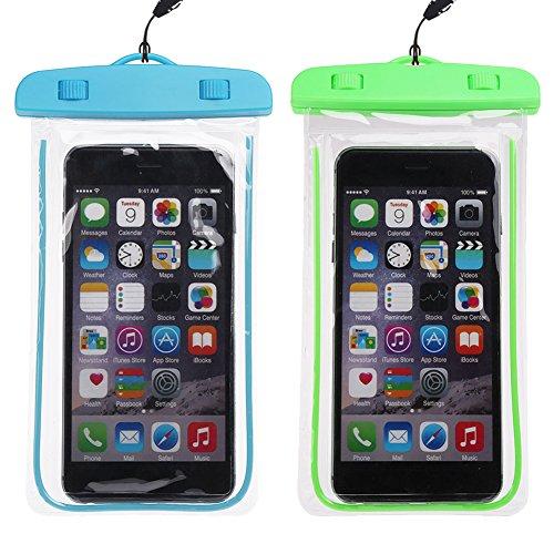 Wasserdichte Tasche, Kcdream 2Packs Unterwasser-Handy-Schützhülle Universal Durable Touch Responsive Ideal für Unterwegs Wassersport Radfahren Für Apple iPhone Samsung Huawei Sony und Andere Smartphone (Blau + grün)