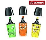 STABILO Mini surligneurs Mini Boss fantôme fluorescents de 3 Couleurs